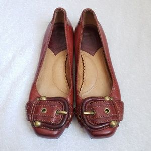 Frye Megan Buckle reddish brown ballet flats 6.5